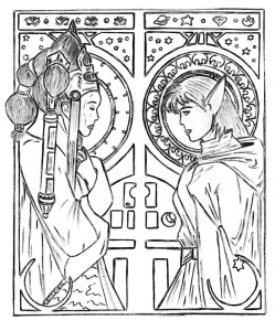 An updated version of the art nouveau piece, with the original moved toward the end of the post.  Now inked.